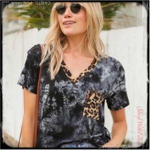 Tie you down Leopard Print V Neck Tshirt